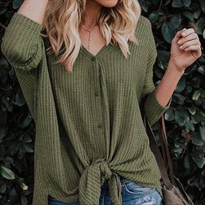Tops - 🌿SHIPS NOW🌿 Olive Thermal Waffle Knit Henley